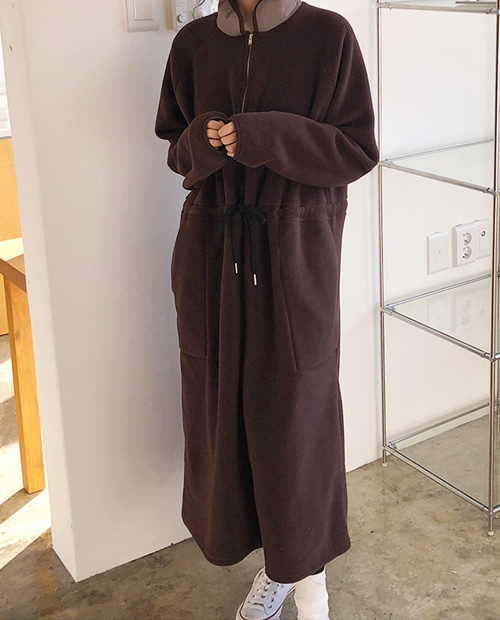 anorak fleece dress : brown