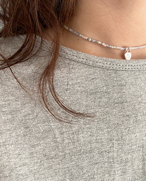 rianbow heart neckless : silver