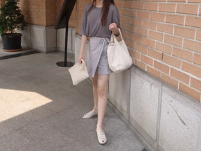 check skirt pants : gray