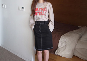 stitch midi skirt : black