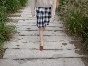 vintage check skirt : black