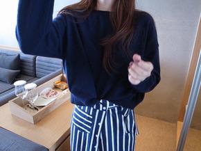 pocket  knit top : navy