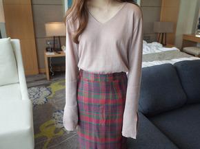 slmple slit knit top : pink beige