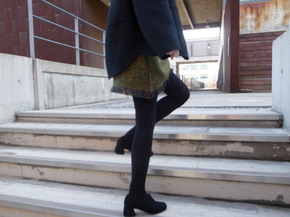 tweed skirt : yellow green