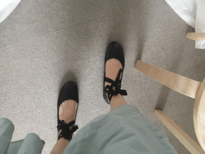 string flat shoes : black