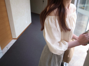shirring blouse : ivory