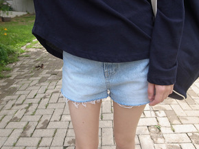 cutting denim shorts