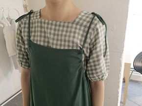 mint check blouse