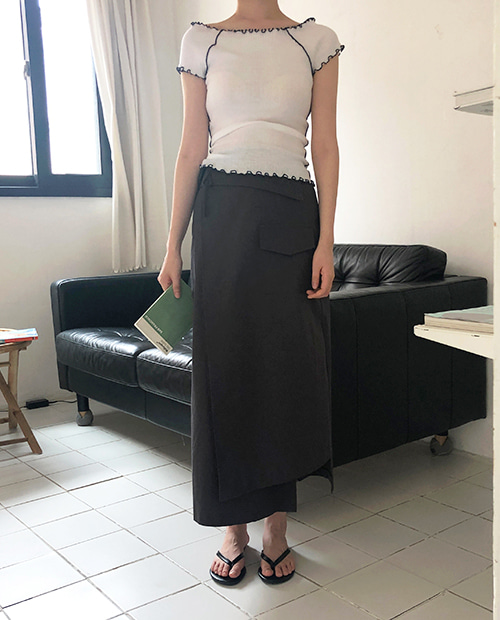 heize wrap skirt : charcoal 당일발송