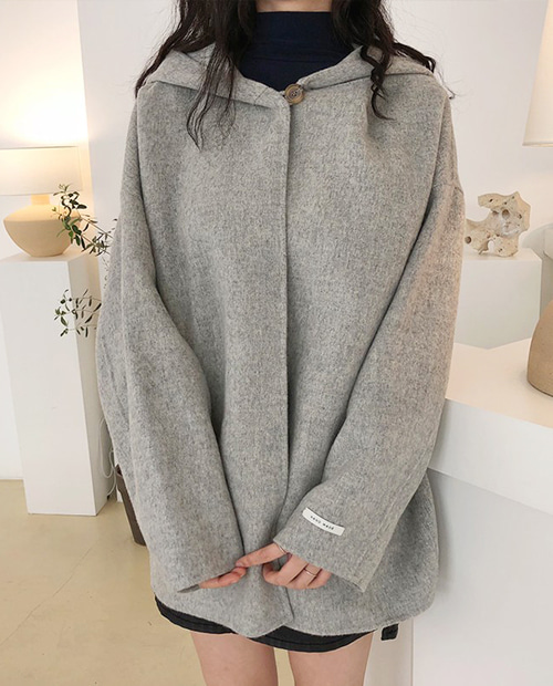 hood handmade coat : gray