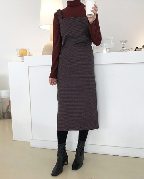 check square dress : wine