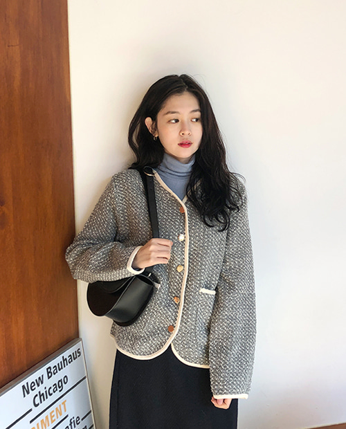 gold button tweed jacket